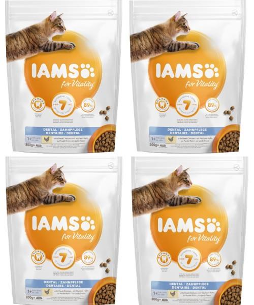 IAMS 4 X 800g Dental mit frischem Huhn ausgewachsene Katzen