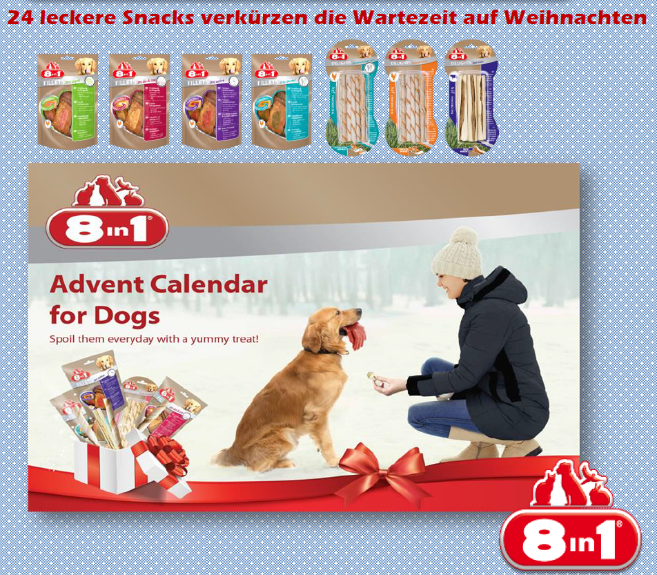 8in1 adventskalender f r hunde 124g angebote der zoo shop. Black Bedroom Furniture Sets. Home Design Ideas
