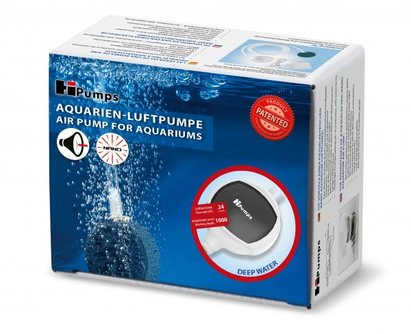 "Piezo Aquarienluftpumpe Nano superleise ""deep water"" 24l/h"