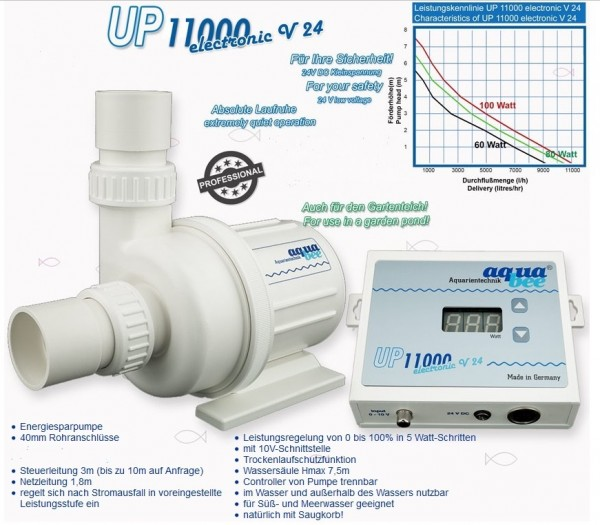 AquaBee UP e11000 V24 Kreiselpumpe electronic + Leistungsregeler