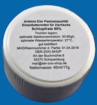 SANDERS Artemia Eier 40ml/17g abgefüllt aus Großgebinde