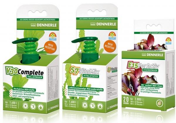Dennerle Pflanzendüngeset V30 S7 E15 2 x 250 ml + 1 x 40 Tabs