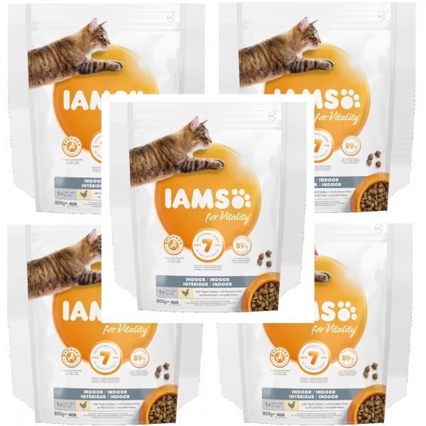 IAMS 5 X 800g für Wohnungskatzen mit frischem Huhn